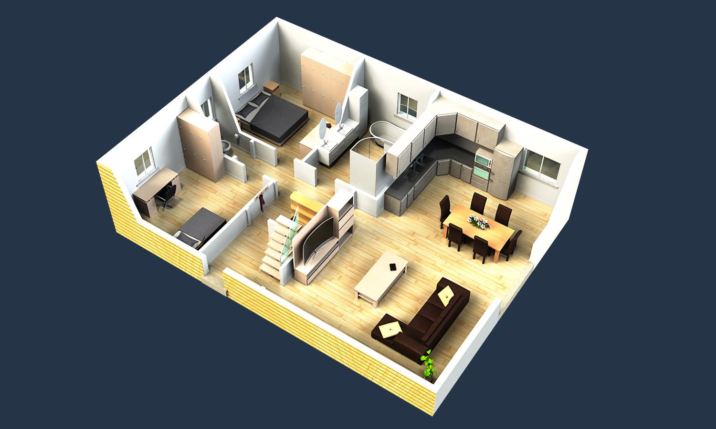 Plan intérieur maison 2 chambres